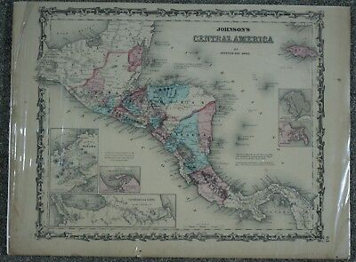 Central America Johnsons Family Atlas Antique 1863 Steel Plate Hand Colored Map