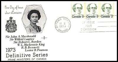 Canada FDC - 1973 - Laurier $0.02 Definitive, Scott # 587, Strip of 3