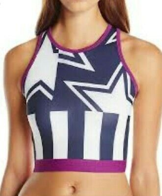 Adidas by Stella McCartney whit indigo crop top bra Size L BNWT.