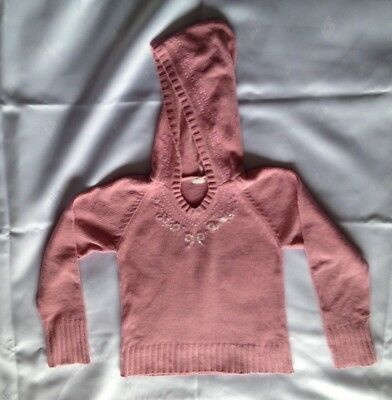 Girls pink hooded jumper VGC age 10-11 years