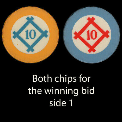2 different HATCH BOX #10 Crest & Seal vintage gambling chips. serrated edge