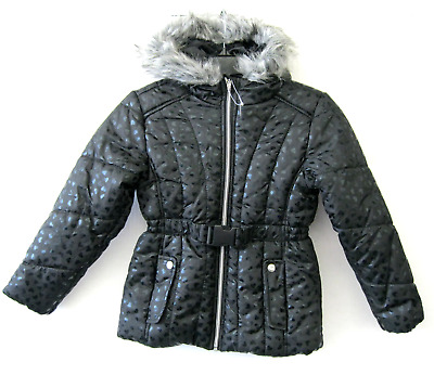 S Rothschild Girls NWT Black Puffer Coat Jacket Size age 7-8 Faux Fur Hood KD624