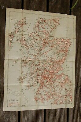 Vintage Cloth Map Road Map Of Scotland Geographia Ltd. Fleet street, London.