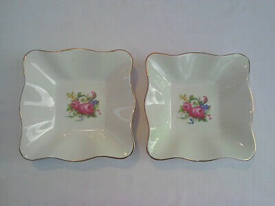 "Vintage Pair of Foley Fine Bone China 6"" Square Fluted Trinket Dishes"