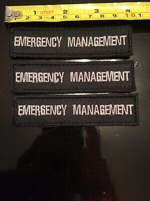 Emergency Management Hook And Loop Patch Lot Of 3 4x1in