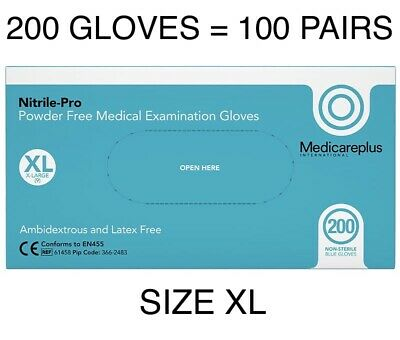 XL NITRILE DISPOSABLE MEDICAL PPE SAFETY x 200 BLUE GLOVES LATEX & POWDER FREE'