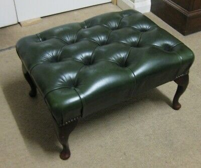 Vintage Chesterfield Antique Green Leather Footstool Footrest