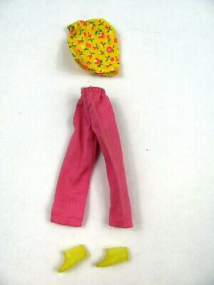 LOT Vtg 1960s Barbie Skipper Doll Clothes matching outfit Shirt Pants Shoes pink