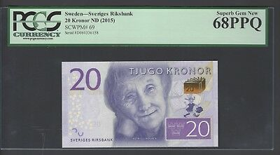 Sweden 20 Kronor ND(2015)  P69 Uncirculated Graded 68