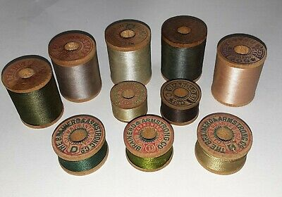 Lot 10 Vintage Silk Thread Spools -1 Corticelli Kitten on Brainerd & Armstrong