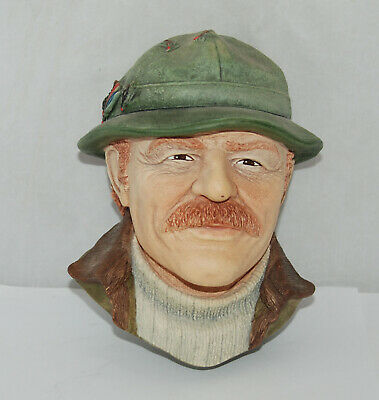 Bossons' Fly Fisherman Chalkware Character Heads, Made in England 1994