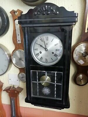 (1521)  Black Wooden 15 Day Wind Up Long Case Wall Clock  Made By C Wood Son
