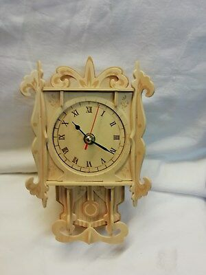 (303)  Balsar Wood Hand Made Minature Grand Father  Wall Clock With Quartz Batte