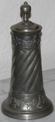 """Large Pewter Pitcher with Grape vine motif 13"""" tall"""