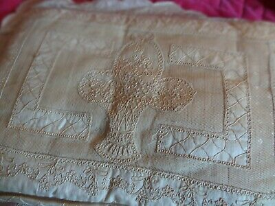 Antique Netted Pillow Basket Flowers Bow