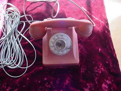 1952 Western Electric Bell System 302 rose / pink tenite  rotary desk phone