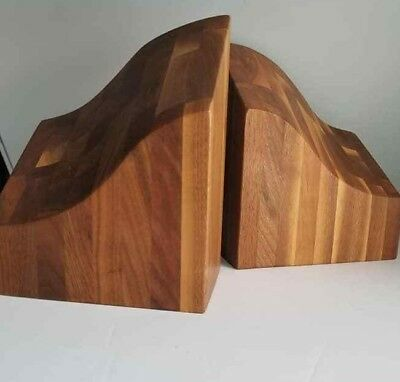 Mid Century Abstract Biomorphic Stack Laminated Teak Studio Craft Wood Bookends