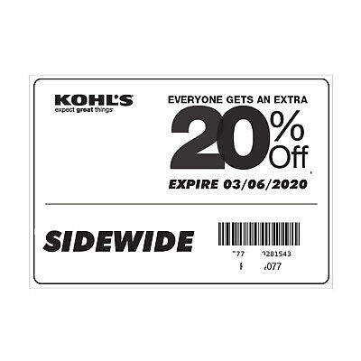 Kohl's Coupon 20% OFF Sitewide Exp 03/06/2020