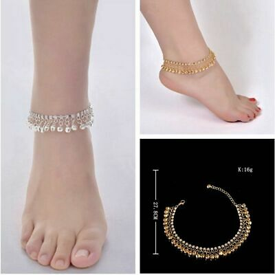 Antique Ankle Chain Gold Silver Anklet Indian Payal Foot Chain With Bells 1Pc