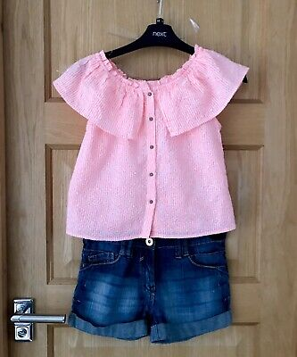 NEXT M&S *9-10y GIRLS STRIPED BLOUSE TOP SHORTS Summer outfit 9-10 YEARS (10y