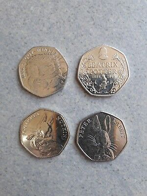 50p Beatrix Potter 50 pence Coin Collection Set of 4 2016 ( Circulated) scarce