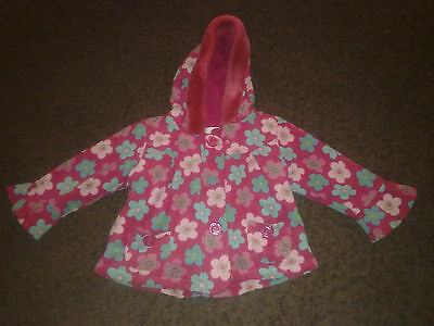 Next Girls Winter Hooded Coat Jacket Zip Press Studs Coloured Flowers Ages 2-3