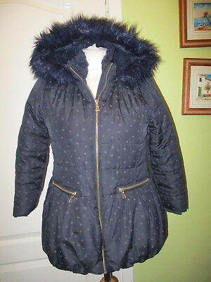 Matalan Age 10 Girls Navy Hooded Thick Quilted Winter Jacket
