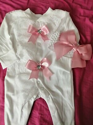 Newborn Baby Girls Babygrow And Headband Set Frilly Lace Pink Bows Romany