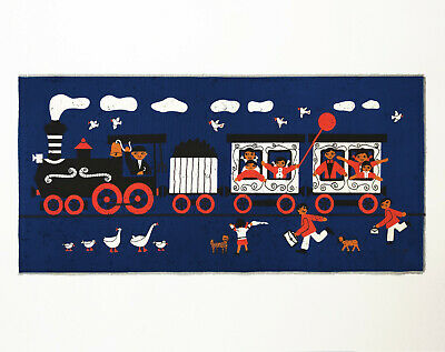 Vintage Retro 1960s HUGE Blue Steam Train Fabric Wall Hanging - Signed