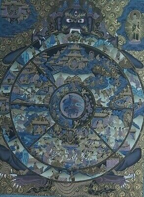 Late 20Th C. Rare Wheel Of Life Thangka Founded In Ganden Monastery Lhasa, Tibet