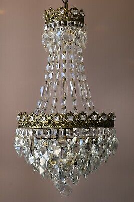 Easy Fit Antique / Vintage Crystal Chandelier in Empire Style, Crystal Lamp