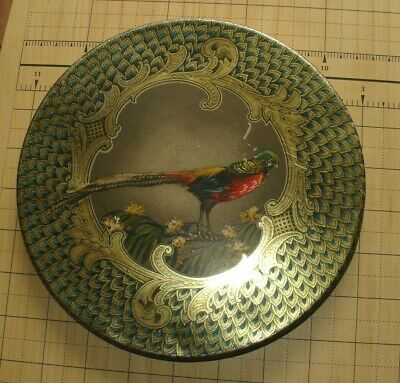 "Antique Round Metal Box with Pheasant Design - About 8"" Across"