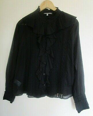 LAURA ASHLEY 14 Black Cotton Lightweight VICTORIAN Style Blouse Shirt Top