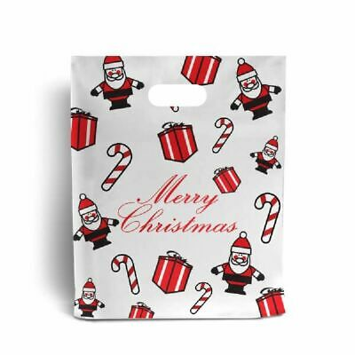 Red & White Christmas Frosted Plastic Carrier Bag