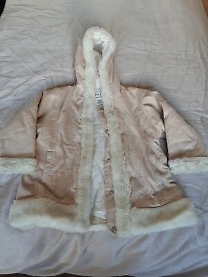 Girls Cream/Beige Fluffy Coat From Next Age 4 Years