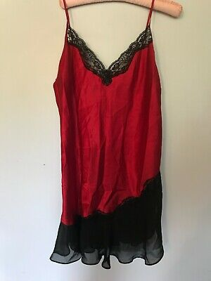 SECRET TREASURES STF-18500 Lace Satin Chemise Nightgown Red  ~ L (12/14)
