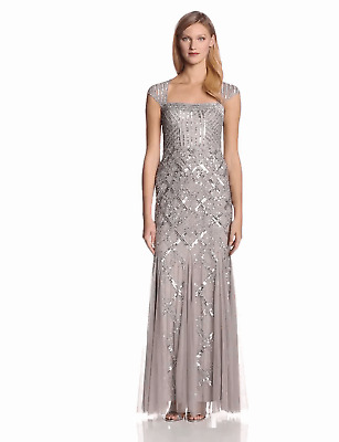 Adrianna Papell Cap Sleeve Beaded Gown PLATINUM Size 4 US / Size 10 UK