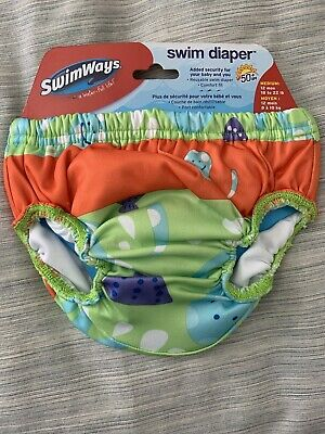 SwimWays Swim Diaper medium 12 Mos Orange Green New