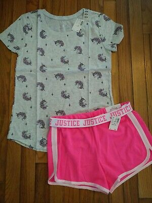 NWT Justice Girls Outfit Cat Tank Top//Mesh Shorts  Size 6 7 8 14 16