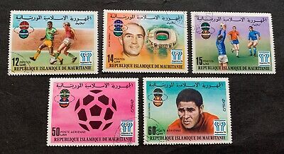 Mauritania 🇲🇷 1977 Football Argentina - 5 canceled stamps Michel No. 584-588