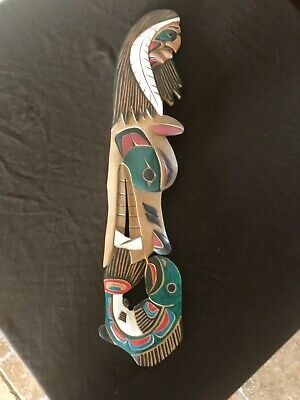 Northwest Coast Native Art Warrior, Wolf, Salmon carving plaque 27""