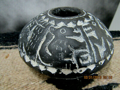 Pre Columbian Chimu Culture~ Zoo-Morph~Hand Carved Blackware Bowl W/Oxidation