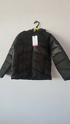 Girls Black Padded Hooded Coat Age 7-8 Years From Marks And Spencer Brand New