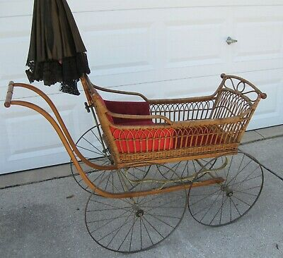 Antique Baby Buggy Late 1800's-Early 1900's Wicker With Original Parisol/Umbrell