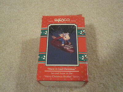 Vintage Enesco mouse on popsicle have a cool Christmas brother pre owned in box