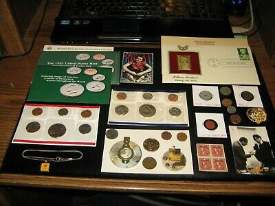 Junk Drawer Coin Lot 1993 Mint Set Steam Punk Jewelry 22k Stamp WWII Red Opa