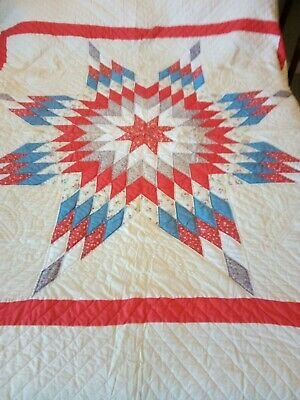Vintage Lone Star Of Texas Quilt. 70 x 80 Hand Stitched Red White & Blue