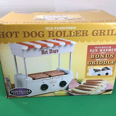 Hot Dog Roller Grill Burger Griddle Nostalgia BunWarmer Adjustable heat Machine