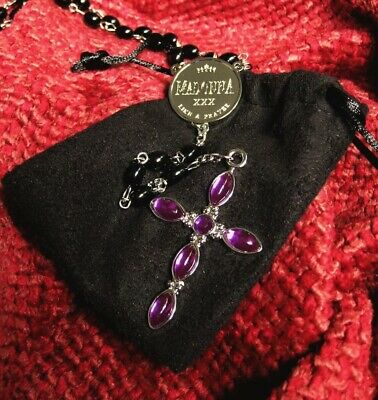 Madonna Like A Prayer Rosary Beads Purple Cross Icon Fan Club Promo 30Th Year Cd