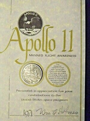 Apollo 11 Coin FLOWN Metal on Columbia and Eagle Gift To Employees in 1971